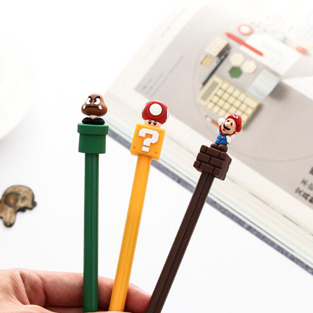 (3 piece/lot)Free Shipping Cute Mario Gel Pen Black Ink Pen Wedding Party Sign the pen Supplies Super Mario Gift For Kid