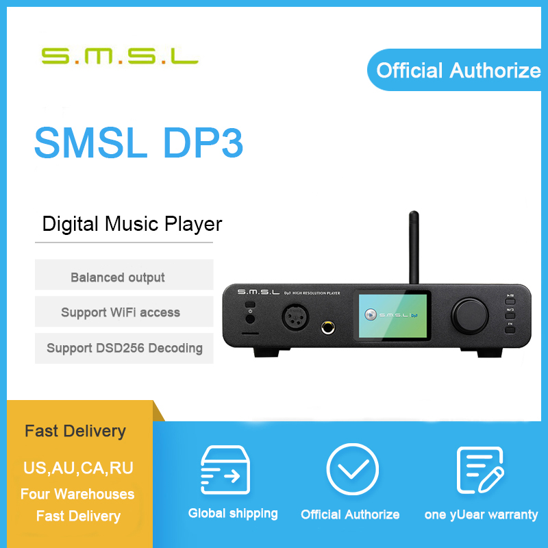 SMSL DP3 DSD DAC Audio Amplificateur Hifi Bluetooth DAC USB Amplificateur Audio Décodeur Équilibrée Casque Amplificateur Lecteur Amplificateurs