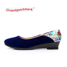 Women Ballet Flats Shoes New Chinese Cloth Elegant Print Flower Boat Shoe Oversize OrientPostMark