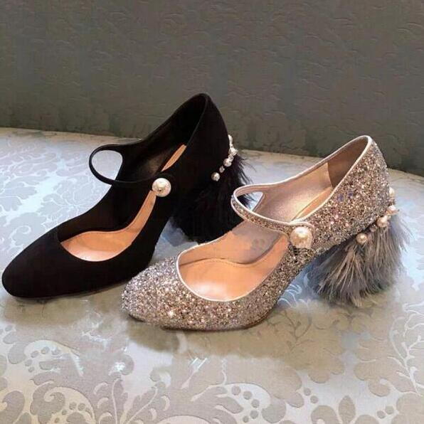 Elegant Party 2017 New Spring/Summer String Bead Round Toe Bling Fringe Block Heels Women Pump Free Ship Mujer pantufa gold chain party 2017 spring summer casual shallow slip on square toe bling square heels women pumps free ship mujer pantufa