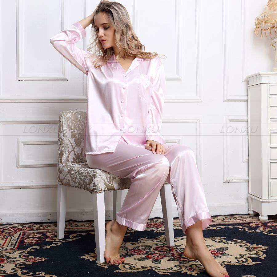 Image 5 - Womens 100% Silk  Pajamas Set  Pajama Pyjamas  Set  Sleepwear Loungewear  XS  S  M  L  XL-in Pajama Sets from Underwear & Sleepwears