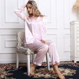 Image 5 - Womens 100% Silk  Pajamas Set  Pajama Pyjamas  Set  Sleepwear Loungewear  XS  S  M  L  XL
