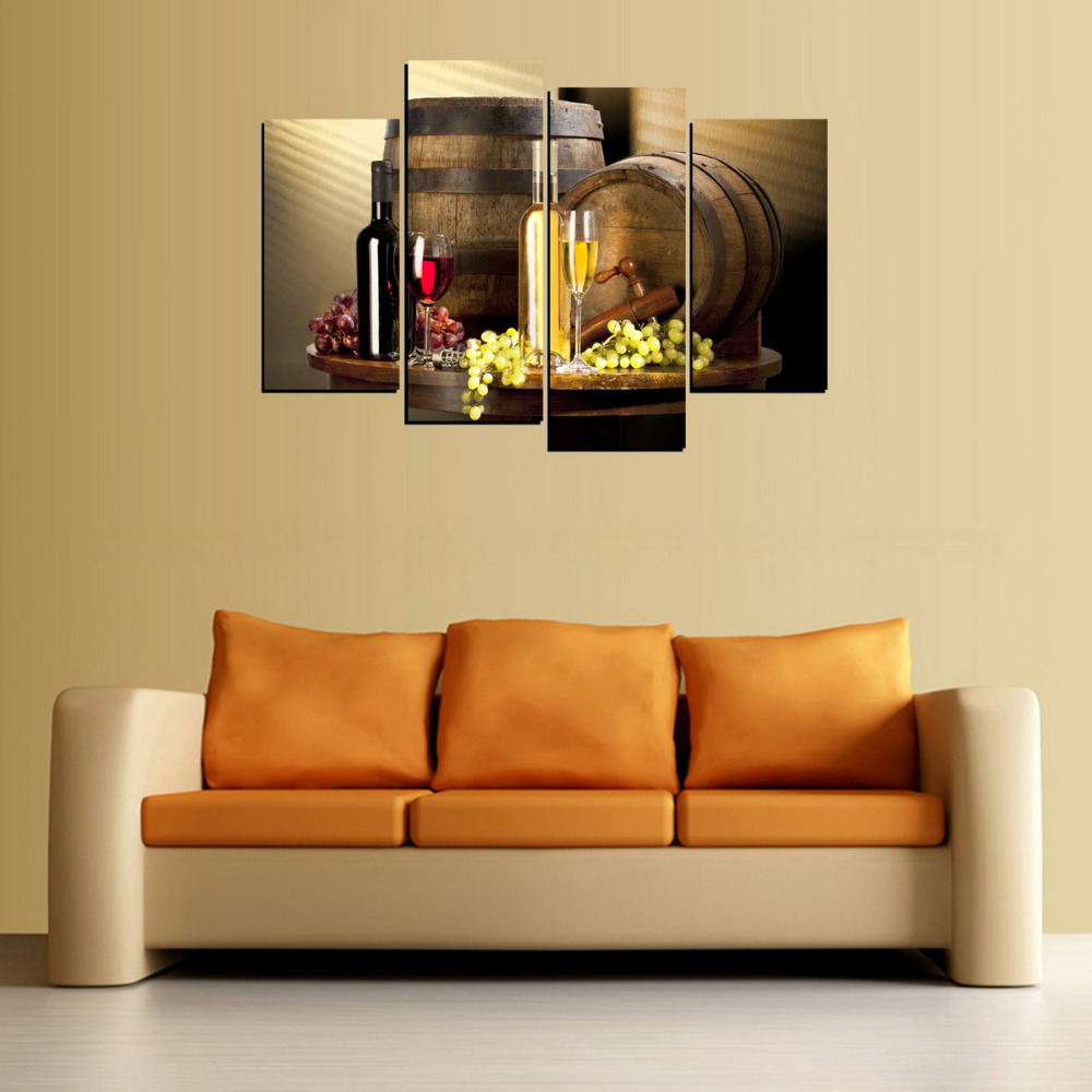 4 Panels Canvas Print Wine Champagne And Wood Case Painting On ...