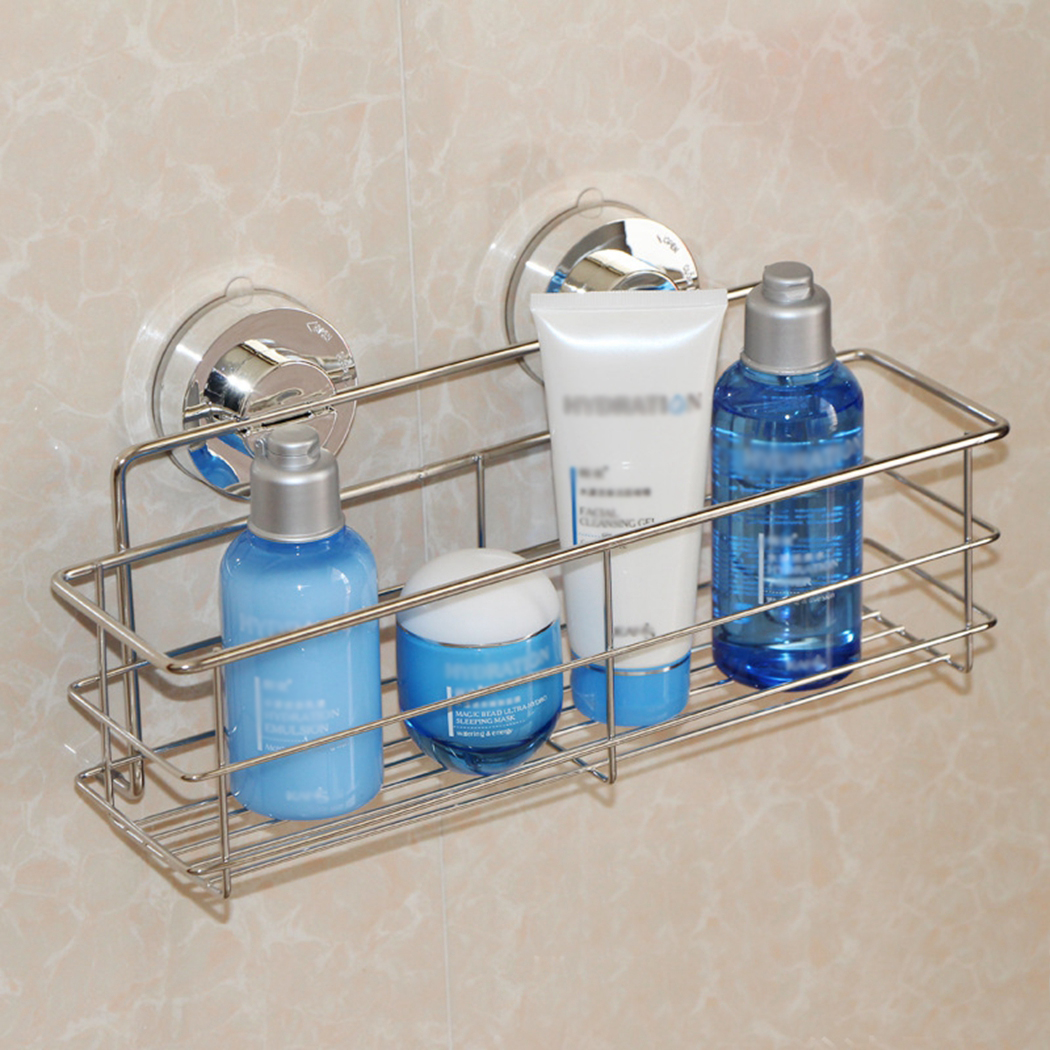 Stainless Steal Bathroom Suction Cup Corner Basket Bath Shower Caddy ...