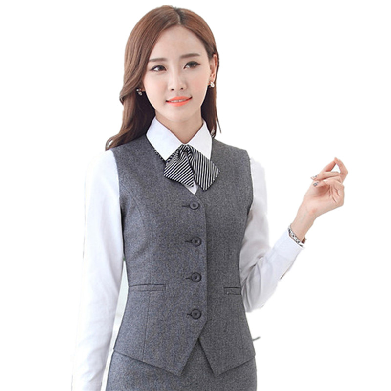 3XL Plus Size Sleeveless Vests For Women Outerwear V-neck Slim Gray Veste Femme Office Lady Vest Hotel Overalls Work Waistcoat
