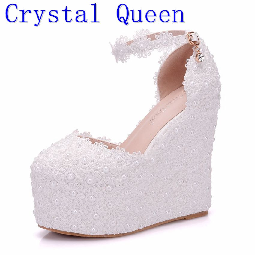 Crystal Queen Lady White Flower Wedding Shoes Lace Pearl High Heels Sweet Bride Dress Shoes Beading Women Wedge Sandals Shoes 15cm ultra high heels sandals ruslana korshunova platform crystal shoes the bride wedding shoes