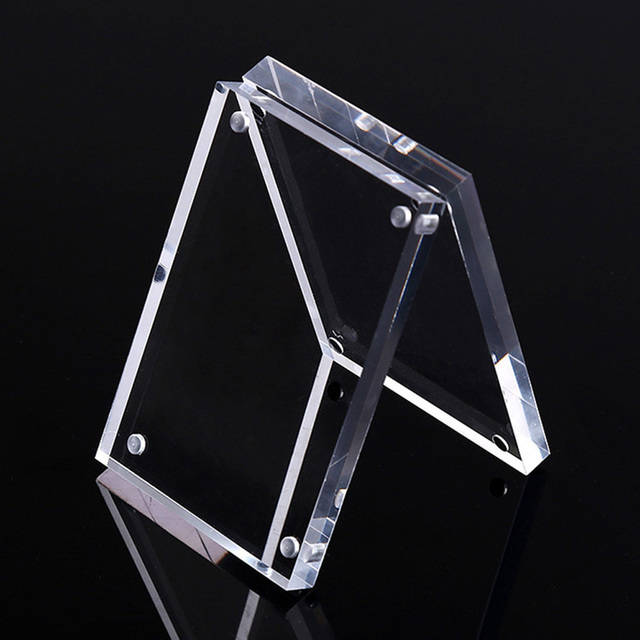 Small Freestanding Clear Acrylic Magnetic Picture Photo Poster Display Frame New
