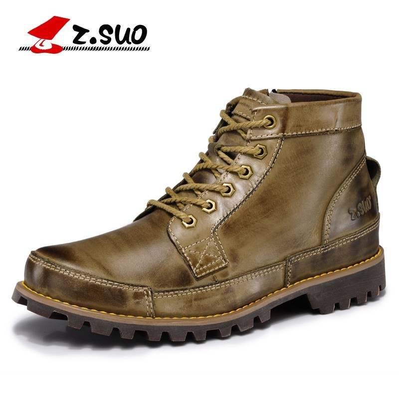 Z.SUO 2018 Autumn Men's Genuine Leather Boots Working Boots Mountain Shoes Vintage Oxford Ankle Boots High Quality Boots Men