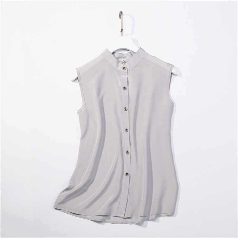 15769c5da393 Женская летняя 100% натуральная шелковая блузка из натурального шелка без  рукавов ...