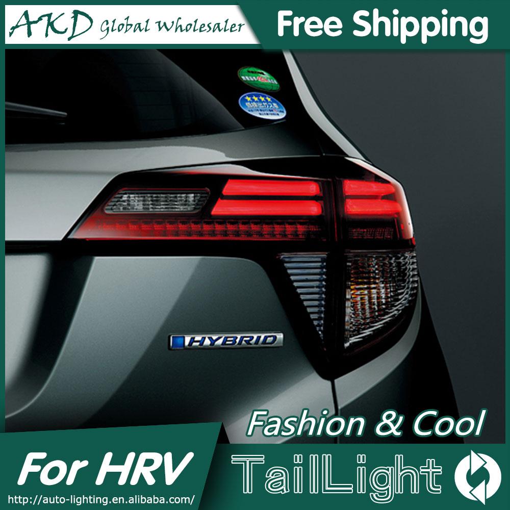 AKD Car Styling for Honda HRV Tail Lights 2014-2016 Vezel LED Tail Light Aurion Rear Lamp DRL+Brake+Park+Signal car styling for honda city led tail lights 2015 tail light new city rear lamp drl brake park signal led lights