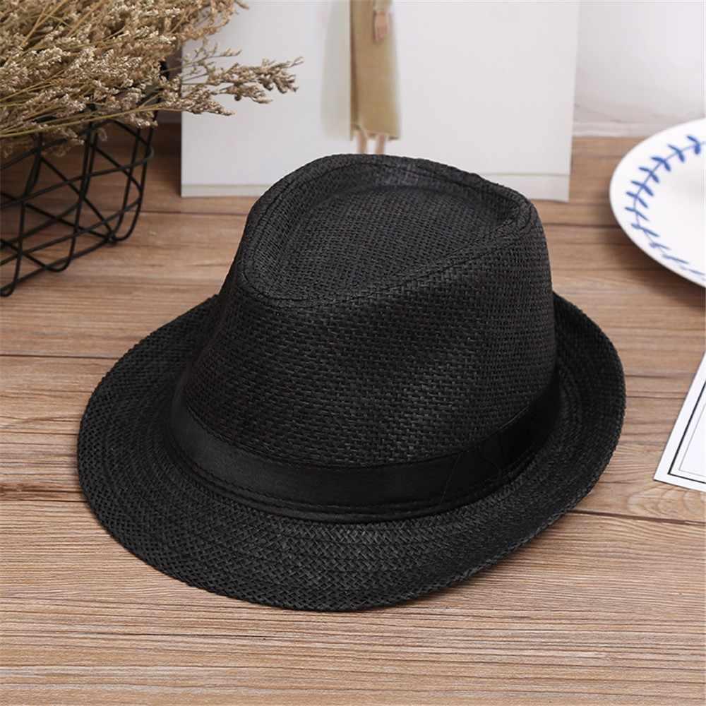 Sombreros para niños verano playa paja sombrero Jazz Panamá Trilby Fedora sombrero gánster diseño de moda verano primavera #1