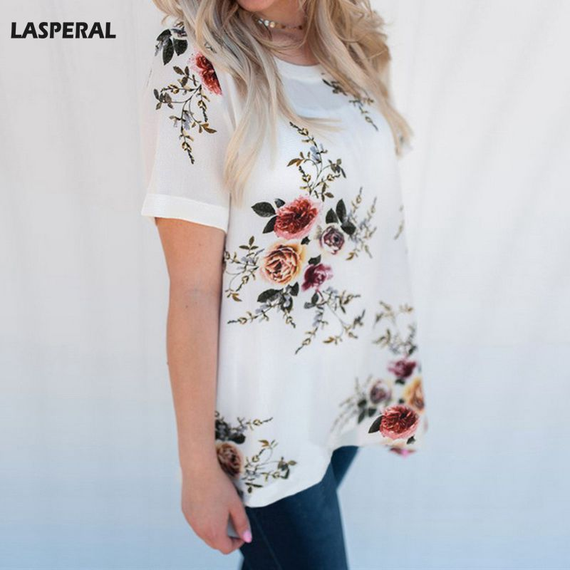 LASPERAL Summer Tshirt Women Short Sleeve Floral Print T-shirt Round Neck Cotton Tee Tops Casual Style Tees Shirt High Quality