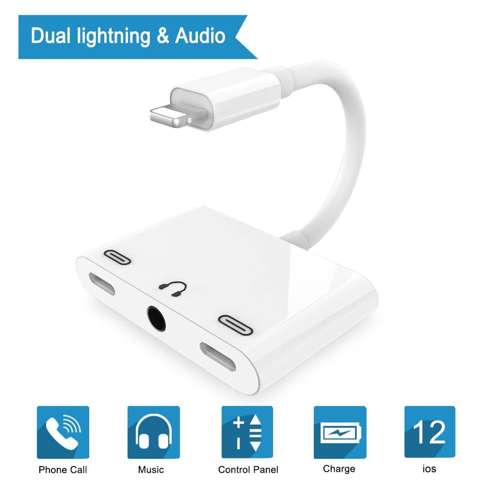 3 in 1 For Lightning To 3.5mm Audio Jack Adapter Dual For Lightning AUX Earphone Jack Conveter For iPhone X/8 Plus/ 8/7 iOS 9-12 цена и фото