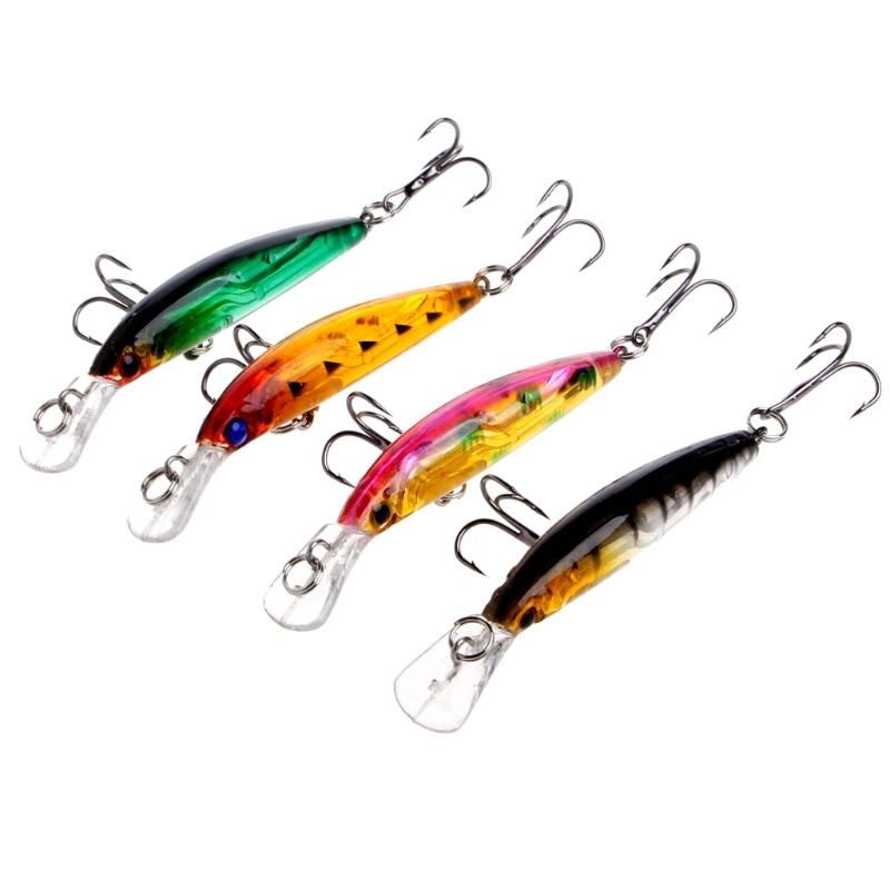 4Pcs/Set  Minnow Fishing Lures Crankbait Plastic Crank Baits Hook Tackle 7cm/3.8g 3pcs lot fishing lures mixed set minnow crankbaits topwater popper hook lure spinner baits crankbait bass wobbler tackle hook