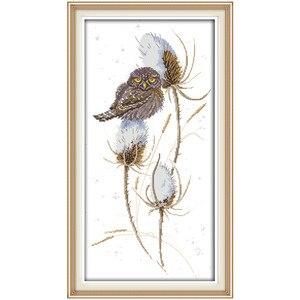 Ptak w śniegu malowanie kwiatów chiński wzór haftu krzyżykowy nadruk zestawy Home Decor 11CT 14CT zestawy do haftu