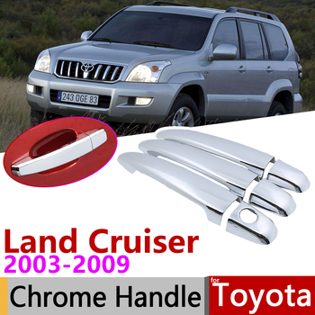 for Toyota Land Cruiser Prado 120 J120 L120 2003~2009 Chrome Door Handle Cover Car Accessories Stickers Trim Set 2005 2007 2008 image