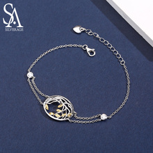 SA SILVERAGE 925 Sterling Silver Bracelets Bangles for Women Yellow Gold Color Life Tree 925 Silver Chain Link Bracelets Female