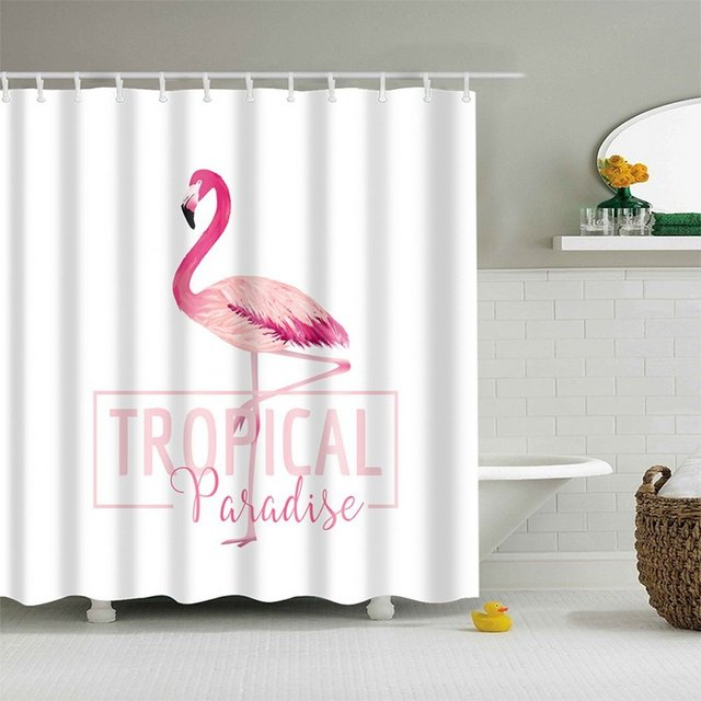Tropical Pink Flamingo Customized Kids Bathroom Shower Curtain 72x72
