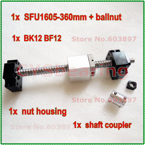 L - 360mm RM1605 Ball screw +  BK12 BF12 Support +nut Housing + 6.35*10 Coupler with end machining  C7grade