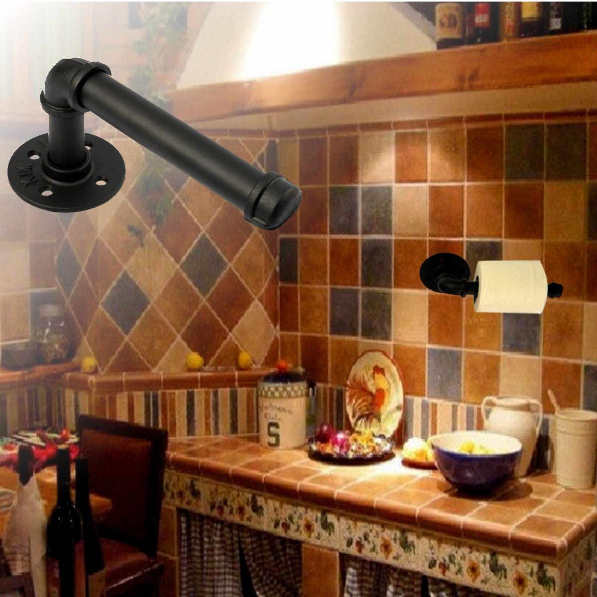 منشفة رف لفة الجرف النمط الصناعي جدار جبل الحديد خط أنابيب Vintage ورقة الحمام المرحاض أداة الأنسجة ورقة رف حمام ديكور