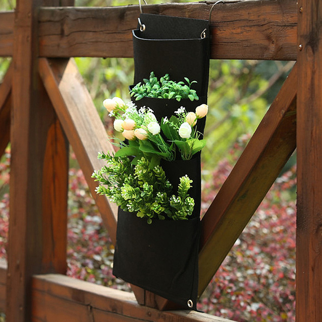 4 Pockets Indoor Outdoor Wall Balcony Hanging Planter Bag Mounted Plant Vertical Garden Diy