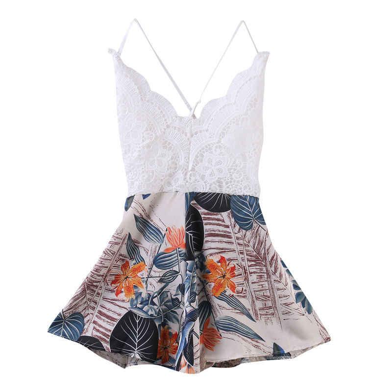 2019 moda de verano para mujer ropa de fiesta vestido de verano cuello en V mono Bodycon fiesta vacaciones Mini playa mameluco Pantalones