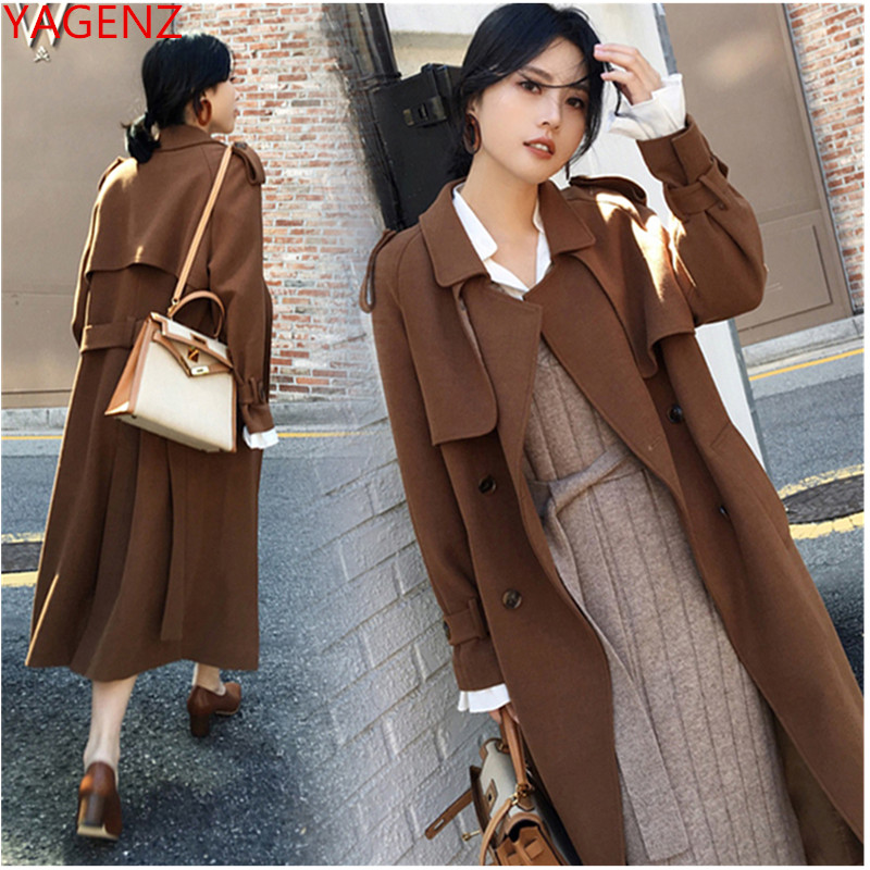 Trench-Coat Women Long-Sleeve Autumn Plus-Size Ladies Casual New for Park Windbreaker