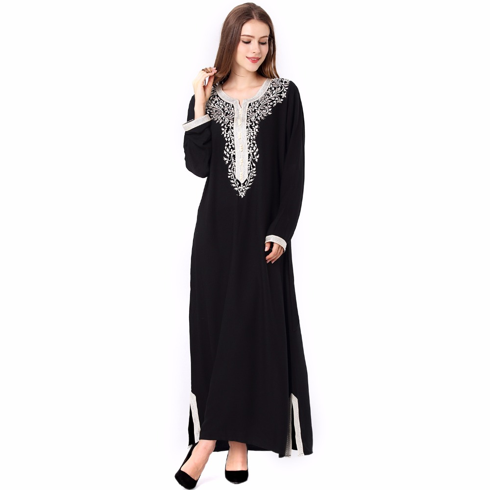 Muslim Women Long Sleeve Hijab Dress Maxi Abaya Jalabiya Islamic Women Dress Clothing Robe Kaftan Moroccan Fashion Embroidey1631