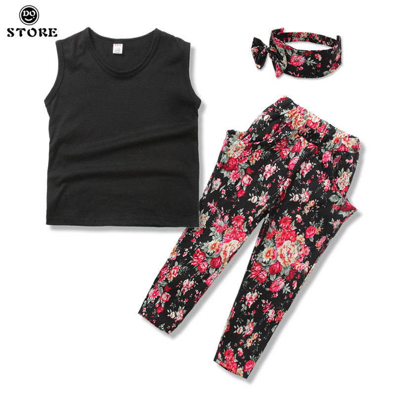 Floral Girls Suit Summer Children Casual Clothing Flower Set Sleeveless Outfit + Headband Kids Clothes for 3 4 5 6 7 8 Year yellow dino boy clothes set roar children t shirt plaid pant suit kids outfit 100% cotton tops panties 2 3 4 5 6 7 year clothing