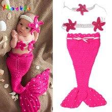 Вязаный костюм русалки для новорожденных девочек вязаная для маленькой девочки жемчужный кокон и цветочные повязки на голову реквизит для фото младенца мультфильм костюм MZS-14113