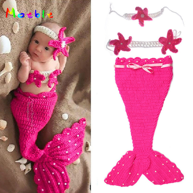 Sereia de crochê Menina Recém-nascidos Roupa Do Bebê Menina Crochet Pérola  Cocoon   Flor 13f607066f