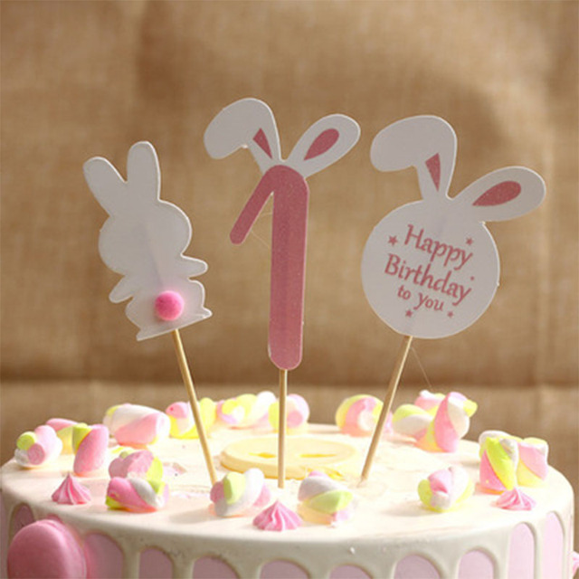 3PCS Pink Blue Cute Hair Ball Rabbit Ear Papper Cake Topper First Birthday Party 1st Decorations Baby Cupcake Toppers