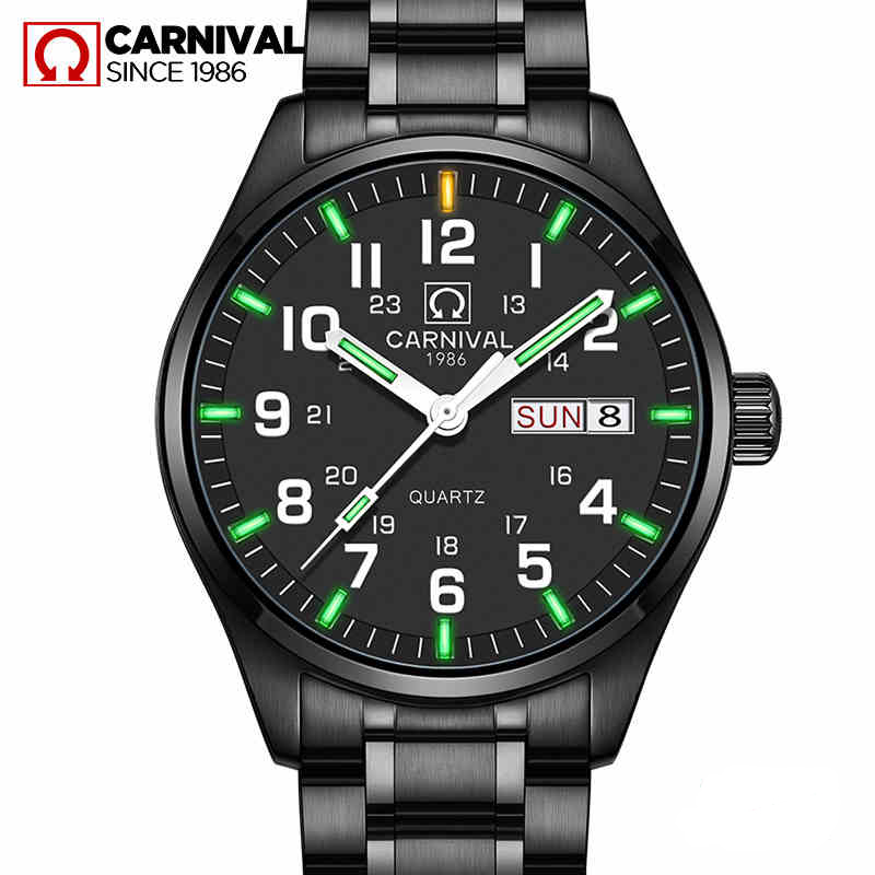 Tritium Light Watch Quartz Double calendar Date Tritium Luminous Waterproof Military diving Watches full steel Carnival