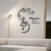 Music Is The Medicine Of The Mind Wall Stickers Musical Notes Stave Home Decor Living Room