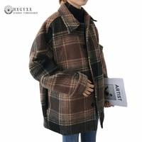 Women Autumn Cape Coat Winter Jacket Short Plaid Wool Coat 2019 Vintage Mujer Female Overcoat Casaco Feminino Outwear Sokd254