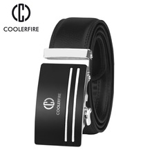 COOLERFIRE  2017 top quality cow genuine fashion leather men belts for automatic buckle strap cinto masculino ZD054