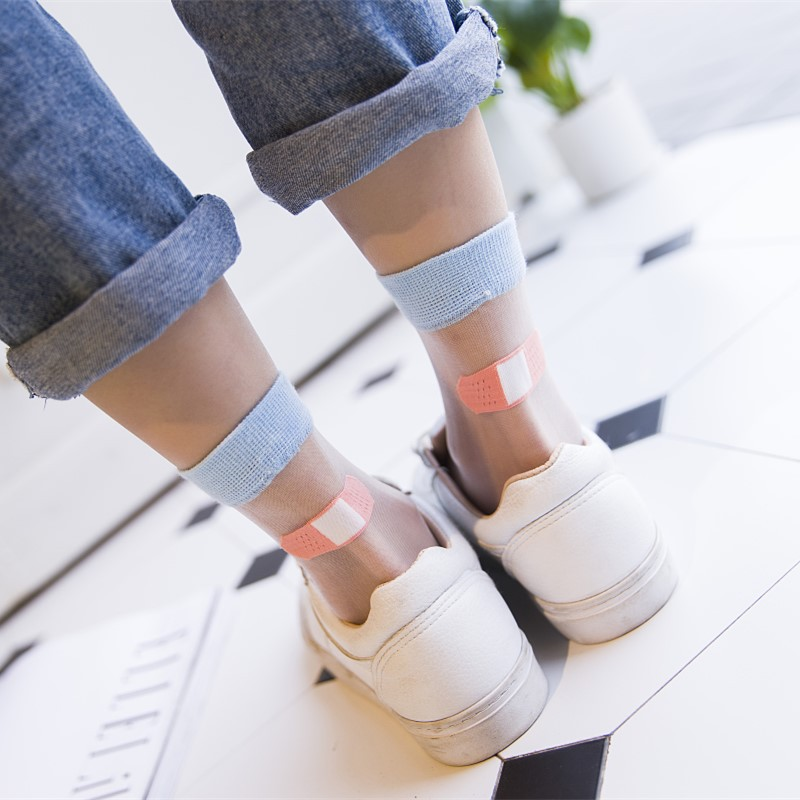 2019 New Design Crystal band-aid Transparent   Socks   Japanese Style Cute Fashion Summer College Wind Patchwork Casual Women   Socks