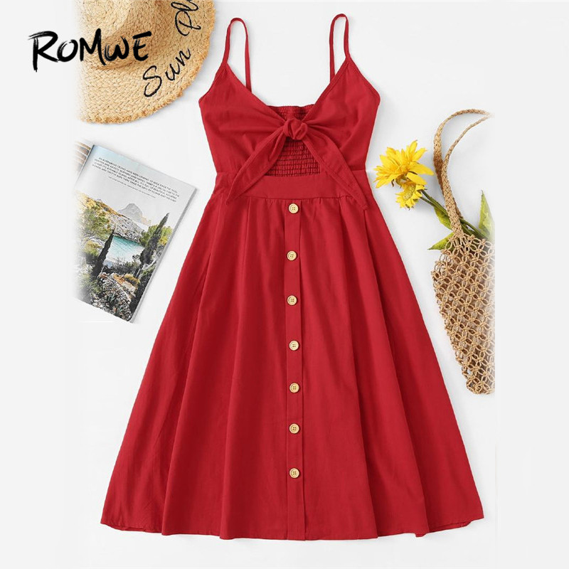 ROMWE Single Breasted Front Knot Cami <font><b>Dress</b></font> <font><b>Red</b></font> Fit and Flare Slip Casual <font><b>Dress</b></font> 2018 Spaghetti Strap Sleeveless <font><b>Dress</b></font>
