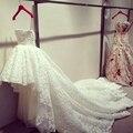 Impressionante Alta Baixa Renda Vestido De Noiva Frente Curto Tempo de Volta do Vestido De Casamento Da Princesa Do Vintage Vestido de Noiva Robe de Mariage