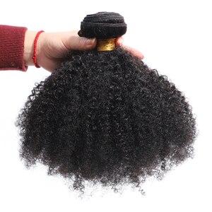 Image 4 - ガブリエルモンゴルアフロキンキーカーリーヘアバンドル 8 20 インチ 100% 人毛バンドル 3/4 個のremy毛は織物ショートカーリーヘア