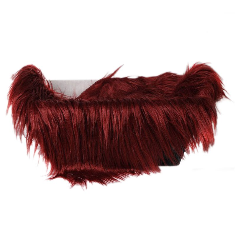 Baby Newborn Faux Fur Photography Photo Props Blanket Basket Stuffer Rug Beanbag Background Backdrop Wine Red