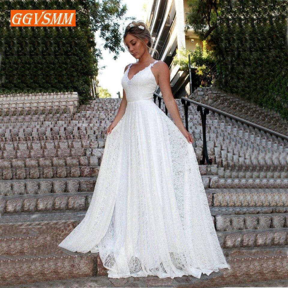 Luxe bohème ivoire dentelle robe de mariée 2019 longues robes de mariée col en v dos nu BOHO Rural plage femmes fête robes de mariée nouveau