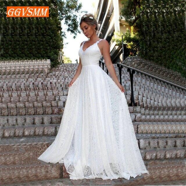 Vestido boêmio luxuoso de renda marfim, de casamento, longo, decote em v, costas nuas, estilo boho rural, para praia, feminino, festa, 2020