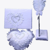 Wedding Supplies Set Western Style Wedding Decoration Three Piece Feather Pen Guestbook Ring Pillow Cases White