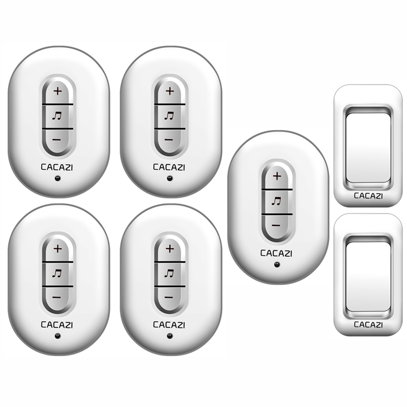 CACAZI Wireless Doorbell AC 110-220V 280M remote 2 waterproof buttons+5 plug-in receivers door bell 48 rings 6 volume door chime наручные часы pierre lannier 057g929