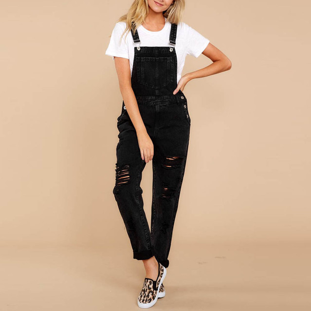 f806e99166a Women black Denim Bib Pants Hole Overalls Jeans Straps Demin Trousers plus  size Rompers Casual loose Hole Pencil Ripped F80