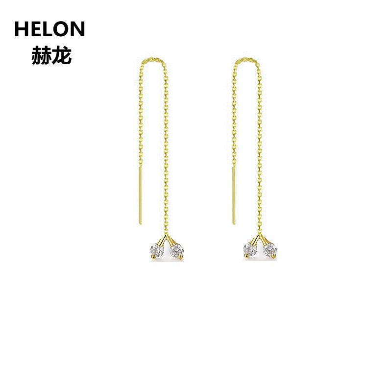 Trendy SI/H 100% Diamantes Naturais Brincos Sólida 18 k Ouro Amarelo de Noivado Casamento Mulheres Brincos Cadeia Única brincos