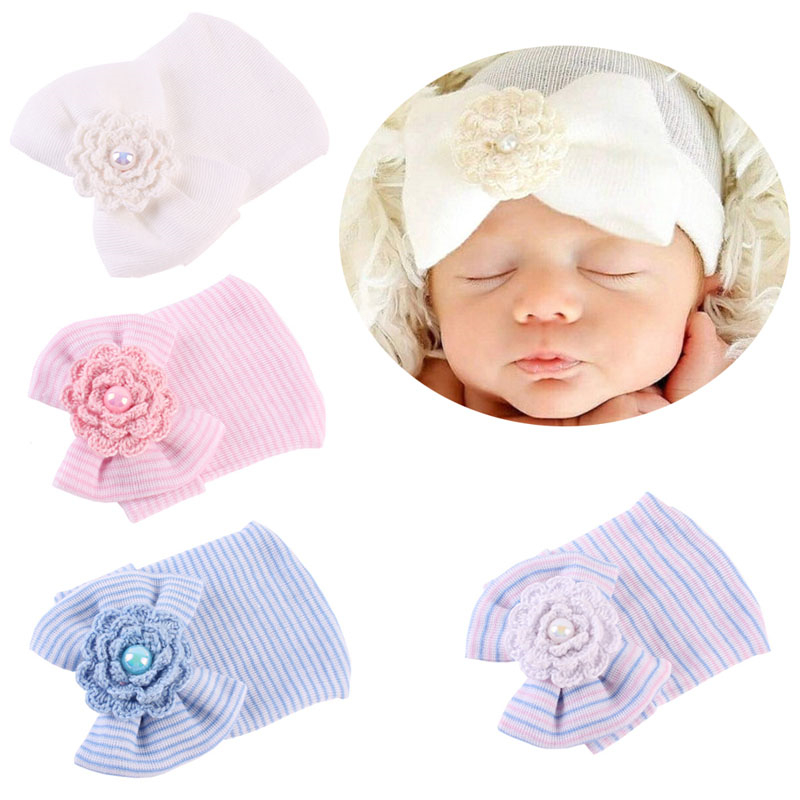 2017 New Baby Cute Newborn Bow Flower Soft Hospital Cap Beanie Hat Toddler Girls Cotton Blend Soft Comfort Casual new arrival lovely newborn hospital hat cute girls baby hats with flower bowknot flower hat high quality