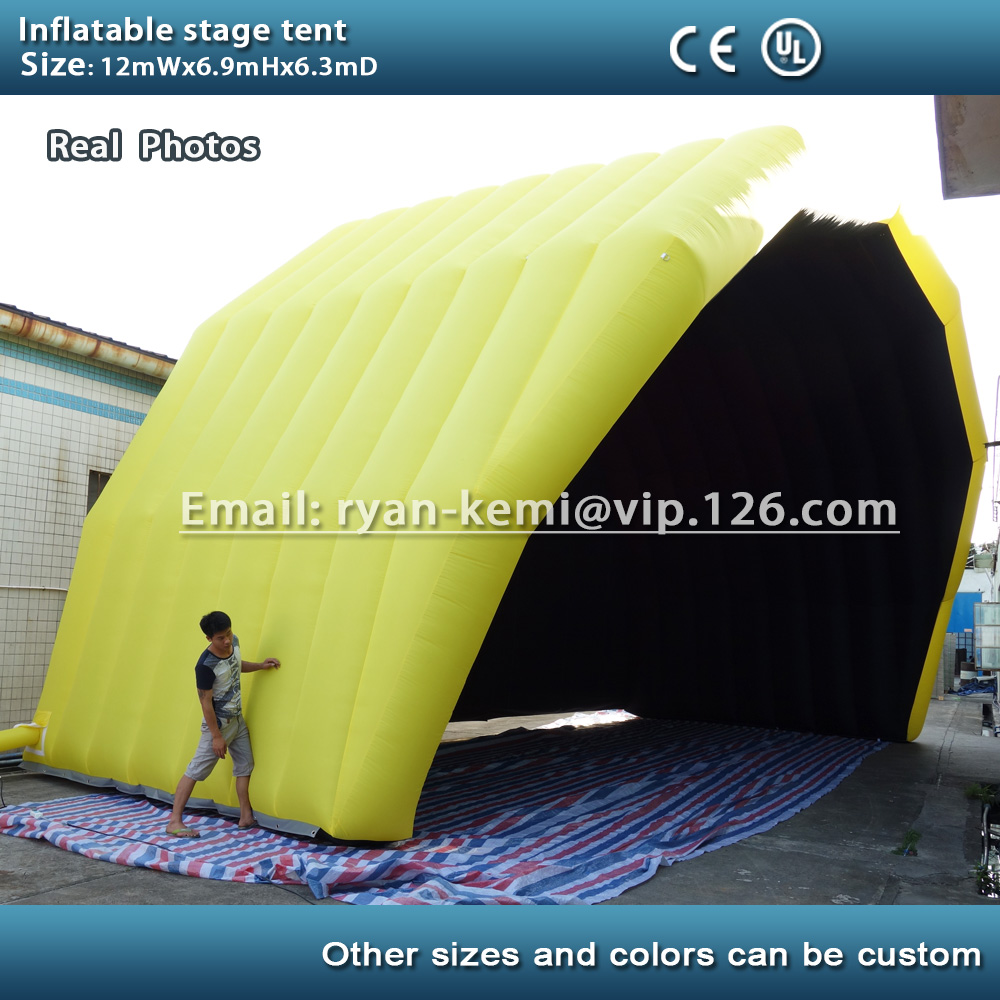 Free shipping custom inflatable stage tent size 12mWx6.3mDx6.9mH giant inflatable stage cover marquee outdoor tent concert tent  6 8x4x3 4m oxford cloth inflatable stage tent inflatable stage cover inflatable canopy tent for concert with free shipping