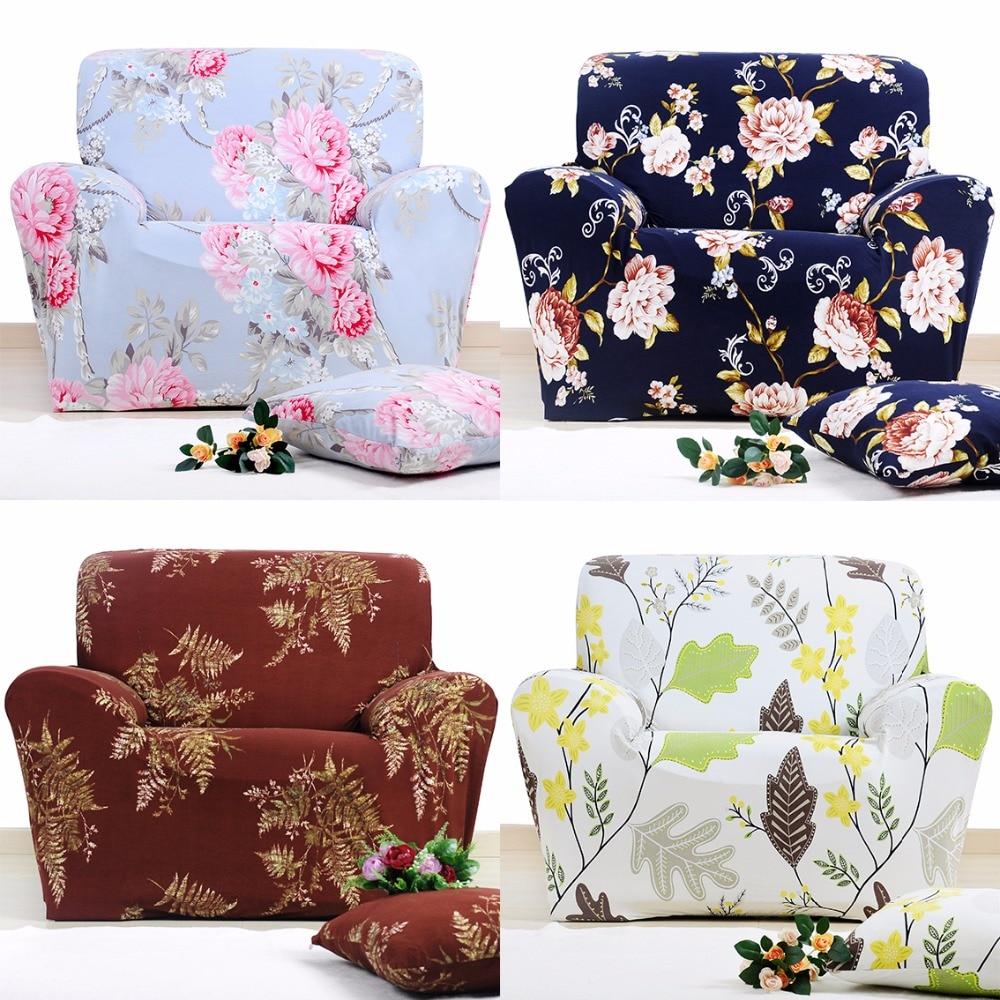 Flower Pattern Sofa Slipcover Elastic Polyester Sofa Cover